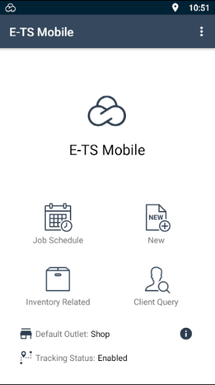 """E-TS Mobile App main screen showing a title bar displaying the text """"E-TS Mobile"""" to the left and Kebab menu on the right. The centre to the top half displays the E-TS logo above the text """"E-TS Mobile"""". The lower shows 4 buttons in a grid pattern for opening the """"Job Schedule"""", creating """"New"""" quotes, jobs, and invoices, performing """"Inventory Related"""" tasks and making a """"Client Query"""". The bottom displays the current set """"Default Outlet"""" (with an """"I"""" button to change this"""" and the """"Tracking Status""""."""