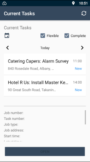 """E-TS Mobile App Current Tasks screen showing a title bar displaying the text """"Current Tasks"""" to the left and refresh button on the right. In the top ⅔ is a scrollable list of job tasks schedule for a particulate date. At the top of the """"Current Tasks"""" list is a calendar button to change the date, options to show job tasks in the """"Entering"""" and """"Complete"""" status, buttons to change the day shown to 1 day earlier or later, and the chosen date is shown. Each listed job task displays the client's name, the time it is scheduled for, and whither the task is """"New"""", """"In progress"""", """"Paused"""" or """"Complete"""". The bottom ⅓ displays a scrollable list of more information about the currently selected job task in the list. The information currently visible on the shown screen size includes """"Job number"""", """"Task number"""", """"Job address"""", """"Contact name"""" and """"Start time"""". At the bottom of the screen is a button to """"Open"""" the currently selected job task."""