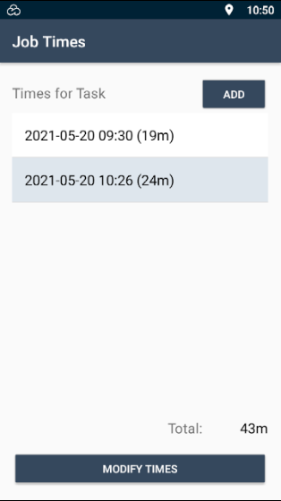 """E-TS Mobile App Job Times screen showing a title bar displaying the text """"Job Times"""". This screen is listing the """"Times for Task"""", showing when each time logging was started and how long it tracked. In the top right corner (just below the title bar) is a button to """"Add"""" another time log. At the bottom right of the list is a """"Total"""" number on minutes spent on the task. At the bottom of the screen is a button to """"Modify times""""."""