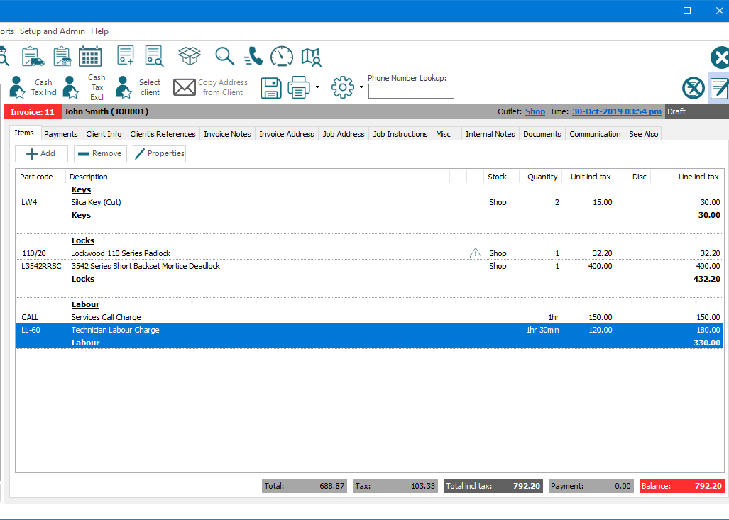 """E-TS Workstation section of main screen focused on an opened Invoice's """"Items"""" tab. Above the Invoice the main menu options and buttons for commonly used functions are visible. Below this are buttons for commonly used functions in relation to the Invoice; change the client to """"Cash Tax Incl"""", change the client to """"Cash Tax Excl"""", """"Select Client"""", """"Copy Address from Client"""" (currently disabled), saving, printing and print menu, cog menu for other functions, and a search field for """"Phone Number Lookup"""" to find and change the client on the invoice. Below this is a summary bar showing the """"Invoice"""" number, the assigned client's description, and client code, assigned """"Outlet"""", and """"Time"""" stamp. Below the summary bar are numerous tabs, including line """"Items"""" (currently active), """"Payments"""", """"Client info"""", """"Invoice Address"""", """"Job Instructions"""", """"Documents"""", and more. The """"Items"""" tab shows a List of items that are assigned to the Invoice. Each line displays a """"Part code"""", """"description"""", the outlet the """"Stock"""" will be supplied from, the """"Quantity"""" being invoiced, the """"Unit incl tax"""" price, any discount, and the total price for the """"Line inl tax"""". Some items display a section heading above their """"Description"""" and some display a section subtotal heading below it, with a sub-total price below the """"Line incl tax"""" price. At the bottom are the overall totals for the invoice."""