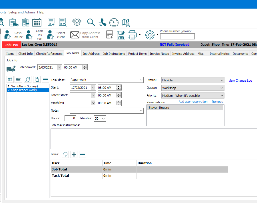 """E-TS Workstation section of main screen focused on an opened Job's """"Job Tasks"""" tab. Above the Job the main menu options and buttons for commonly used functions are visible. Below this are buttons for commonly used functions in relation to the Job; change the client to """"Cash Tax Incl"""", change the client to """"Cash Tax Excl"""", """"Select Client"""", """"Copy Address from Client"""" (currently disabled), quick invoicing (currently disabled), saving, printing and print menu, cog menu for other functions, and a search field for """"Phone Number Lookup"""" to find and change the client on the job. Below this is a summary bar showing the """"Job"""" number, the assigned client's description and client code, invoice status, assigned """"Outlet"""", and """"Time"""" stamp. Below the summary bar are numerous tabs, including line """"Items"""", """"Client info"""", """"Job Tasks"""" (currently active), """"Job Address"""", """"Job Instructions"""", """"Documents"""", and more. The """"Job Tasks"""" tab first shows a section for """"Job info"""", which has entry fields for the """"Job booked"""" date and time. Below this, on the left, is a list of Job Tasks created for the Job below buttons for adding a new Workshop or Van task, changing a task's type, coping a task, and deleting a task. To the right of these buttons and list, are numerous entry fields and dropdown lists for data such as """"Start"""" time and """"Task Description"""", a list of reserved users, and a list of """"Times"""" with totals, all associated to the currently selected Job Task."""