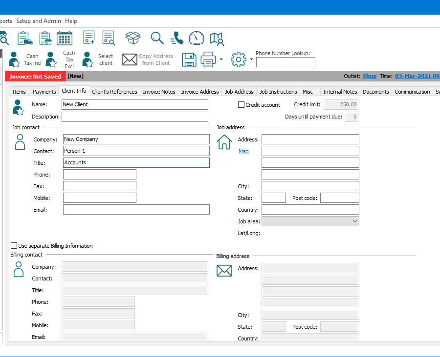 """E-TS Workstation section of main screen focused on a new Invoice's (for a new client) """"Client Info"""" tab. Above the Invoice the main menu options and buttons for commonly used functions are visible. Below this are buttons for commonly used functions in relation to the Invoice; change the client to """"Cash Tax Incl"""", change the client to """"Cash Tax Excl"""", """"Select Client"""", """"Copy Address from Client"""" (currently disabled), saving, printing and print menu, cog menu for other functions, and a search field for """"Phone Number Lookup"""" to find and change the client on the invoice. Below this is a summary bar showing the """"Invoice"""" number, the assigned client's description, and client code, assigned """"Outlet"""", and """"Time"""" stamp. Below the summary bar are numerous tabs, including line """"Items"""", """"Payments"""", """"Client info"""" (currently active), """"Invoice Address"""", """"Job Instructions"""", """"Documents"""", and more. The """"Client info"""" tab shows entry fields for recording a new client's """"Name"""", a """"Description"""", """"Job contact"""" details, and """"Job Address"""" details."""