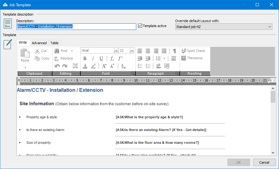 """E-TS Workstation Job Template window. At the top of this window is a """"Template description"""" section , with a field for entering a """"Description, a checkbox for marking the """"Template active"""", and a dropdown list to """"Override default Layout with"""". Next is the """"Template"""" section, which contains a rich text editor. In the bottom right corner are """"OK"""" (currently disabled) and """"Cancel"""" buttons."""