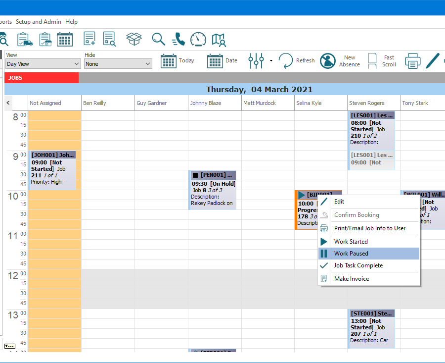 """E-TS Workstation section of main screen focused on the opened Job Time Planner. Above the Job Time Planner, the main menu options and buttons for commonly used functions are visible. Below this are buttons and dropdown lists, for functions related to the Job Time Planner; these include, change the """"View"""" to a weekly view for a particular user, """"Hide"""" completed and invoiced jobs, switch the viewed date to """"Today"""", pick a """"Date"""" to view, """"Refresh"""" the view, and add a """"New Absence"""". Next, the day and date being viewed is displayed. Below this there are multiple columns for Job Tasks """"Not Assigned"""" and the applicable users. Visible are several Job Tasks, with one of them having been right clicked on to display a context menu, with options to """"Edit"""", """"Confirm Booking"""" (currently disabled), """"Print/Email Job Info to User"""", record """"Work Started"""", """"Work Paused"""", or """"Job Task Complete"""", and to """"Make Invoice""""."""