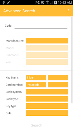 "The InstaCode Live Mobile App showing the ""Advanced search"" with search fields for ""Key Code"", ""Manufacture"", ""Model"", ""Submodel"", ""year"", ""Key blank"", ""Card number"", ""Lock system"", ""Lock type"", ""Key type"" and ""Cuts""."