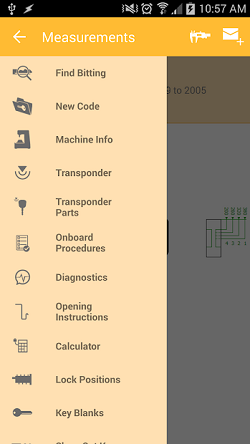 "The InstaCode Live Mobile App function menu showing options for ""Find Bitting"", "" New Code"", ""Machine Info"", ""Transponder"", ""Transponder Parts"", ""Onboard Procedures"", ""Diagnostics"", ""Opening Instructions"", ""Calculator"", ""Lock positions"" and ""Key Blanks"". With more options accessible by scrolling."
