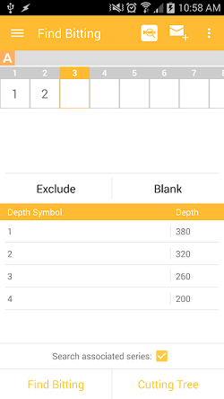 "The InstaCode Live Mobile App ""Find Bitting"" screen, listing the cut positions with only the first two position with values entered, and buttons available to select a value for the subsequent positions."