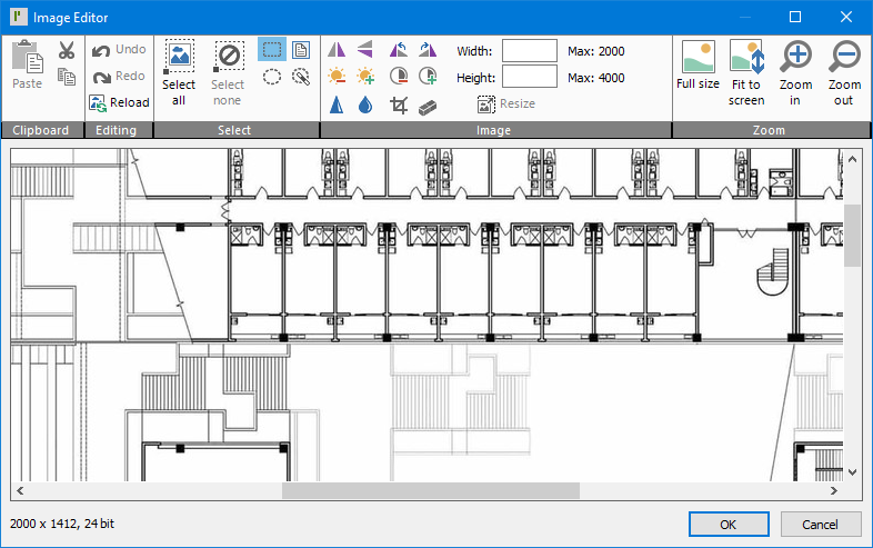 """ProMaster Key Manager 8 Image Editor window. At this top of this window is a ribbon menu with numerous tools for altering an image, grouped into 5 sections; """"Clipboard"""", """"Editing"""", """"Select"""", """"Image"""" and """"Zoom"""". Below the ribbon menu the image being edited is shown (currently a building floor plan). In the bottom left corner, information about the image's height, width and colour depth is shown. In the bottom right corner, there is an """"OK"""" button (for saving the changes to the image being stored) and a """"Cancel"""" button."""