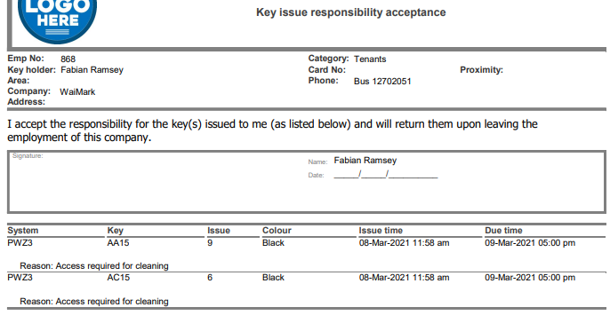 """ProMaster Key Manager 8 Key issue responsibility acceptance form. This shows a section of the printed report that is produced when keys are issued (given) to a key holder. Shown is part of the report header, including part of a sample company logo image and the full report title """"Key issue responsibility acceptance"""". Below that, information about the 'Key holder' that the keys are being given to is displayed, including their name, employee number, key holder """"Category"""", """"Company"""", phone number and """"Address"""". Next, text is populated from the key holder's """"Category"""", detailing the responsibilities that the key holder is agreeing to when receiving the keys followed by a 'signature' box containing the key holders name and place to write the date."""