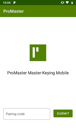 "ProMaster Master-Keying Mobile pairing screen where a pairing code generated by ProMaster Master Keying on a PC can be entered and submitted using the ""Submit"" button shown."